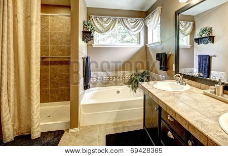 Bathroom Interior With Bath Tub And Shower