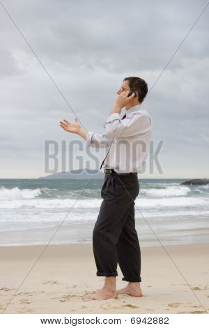 Businessman Talking On Cell Phone On A Beach