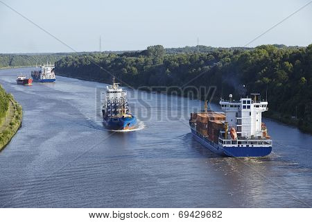 Beldorf (germany) - Vessels At Kiel Canal (retouched)