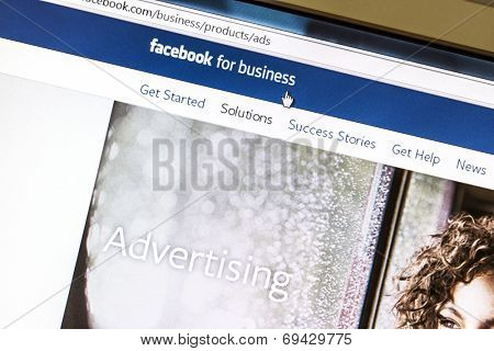 Ostersund, Sweden - August 3, 2014: Close up of Facebook advertising page on a computer screen. Facebook is the largest social media network on the web.