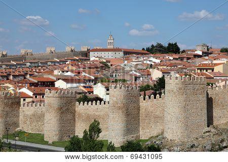 Medieval City Walls Of Avila