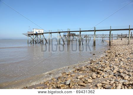 Pier and cabins for fishing