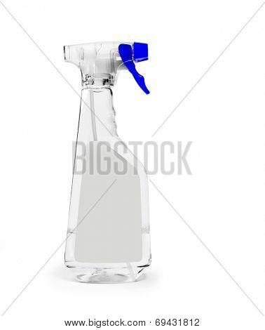 Transparent spray bottle with space for your text or picture.