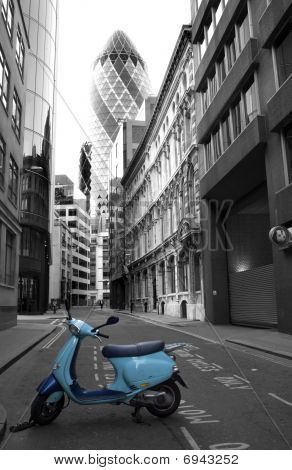 London - scooter and swiss re tower