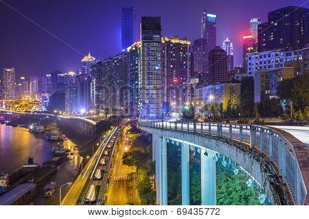 Chongqing, China night time cityscape.