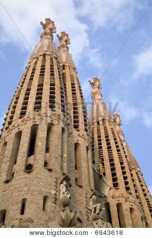 Barcelona - cathedral Sagrada la Familia - towers of west facade