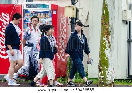 Hotaru ,hokkaido, Japan -26 July 2014 :lots Of Unidentified  People With Yukata (japanese Traditiona