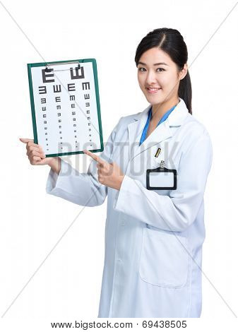 Optometrist show eye chart