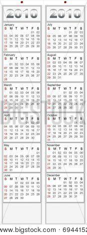 2010 White Calendar