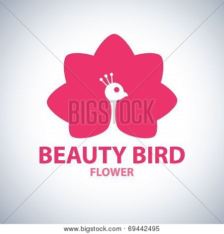 Beauty Bird Flower Symbol Icon