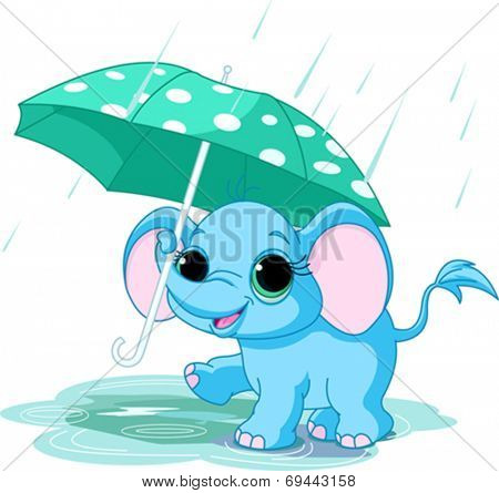 Illustration of cute funny baby elephant under umbrella