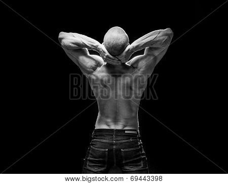 man back fitness body wearing jeans