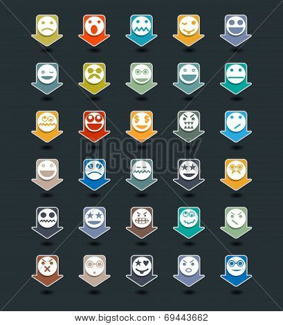 Icons Set Of Face Emotion