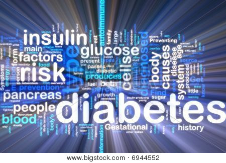 Diabetes Wordcloud glühend
