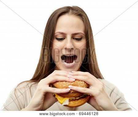 Woman Eating Hamburger
