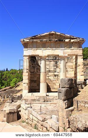 Athenian treasury in Delphi, Greece