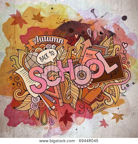 School watercolor cartoon hand lettering and doodles elements