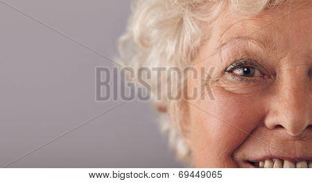 Part Of Senior Woman Face