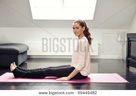 Beautiful Female Exercising In Living Room