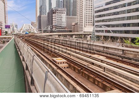 Railway Above The Ground In The City