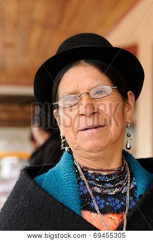 Ethnic Woman From Areas Of The Saraguro Village In Ecuador