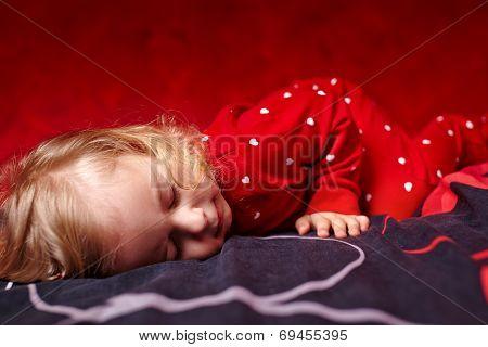 Girl Toddler Dressed In Her Pajamas Sleeping