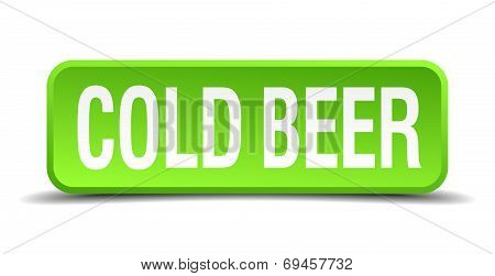 Cold Beer Green 3D Realistic Square Isolated Button