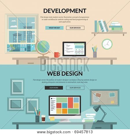 Set of flat design concept for web development poster