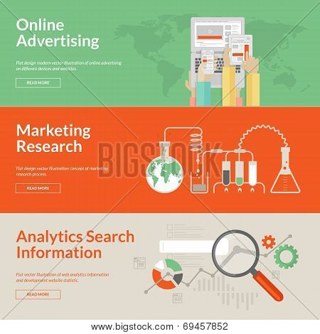 Set of flat design concepts for online advertising, marketing research and analytics search informat