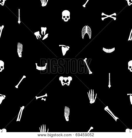 Human Bones Black Seamless Pattern Eps10