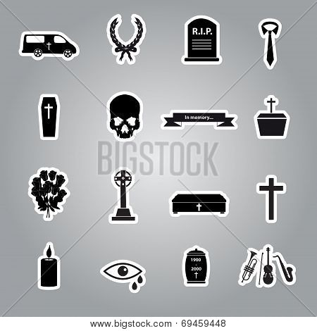 Funeral Stickers Set Eps10