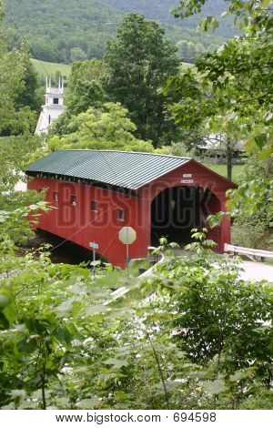New England Covered Bridge And Church