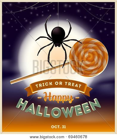 Halloween vector illustration - spider with lollipop candy and type design against a full moon night background
