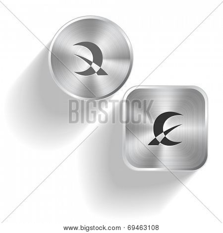 Abstract monetary sign. Raster set steel buttons