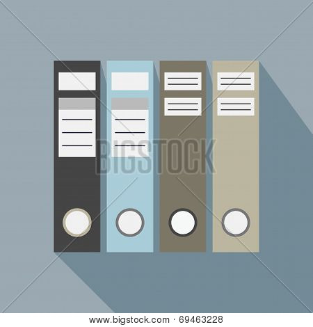 Office file folders icon with long shadow on blue background