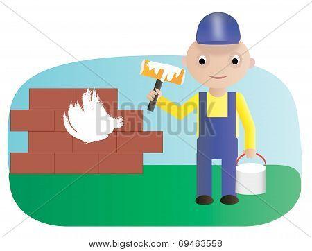 Worker paint roller