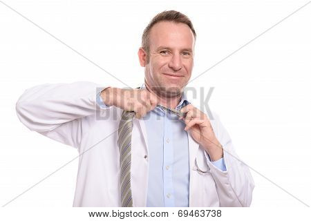 Smiling Doctor Loosening His Tie