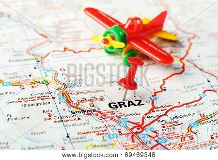 Graz ,austria Map Airplane
