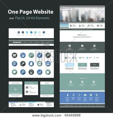 One Page Website Design Template and Flat UI, UX Elements