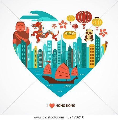 Hong Kong love background and illustration with vector icons