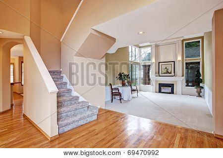 Luxury House Interior. Living Room And Hallway