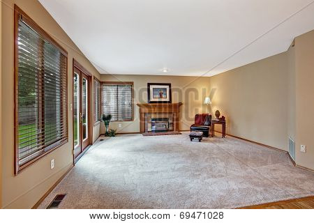 Empty Living Room In Luxury House