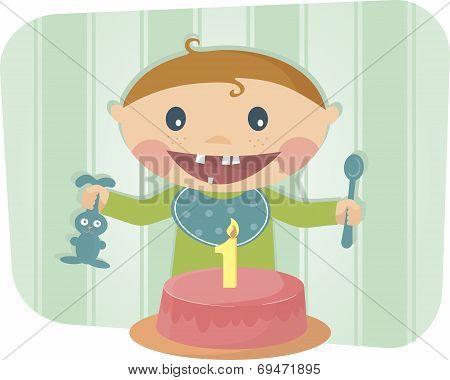 cute baby celebrating birthday
