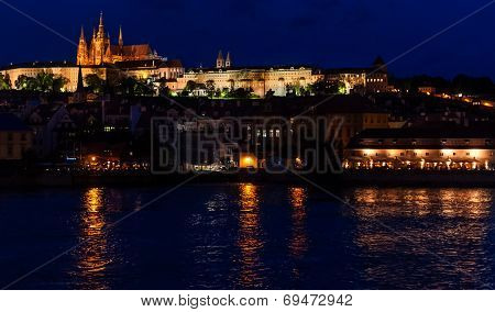 Prague Castle From At Night