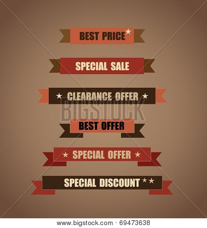 Price tag, ribbon, sale coupon, voucher. Vintage Style template Design vector illustration.