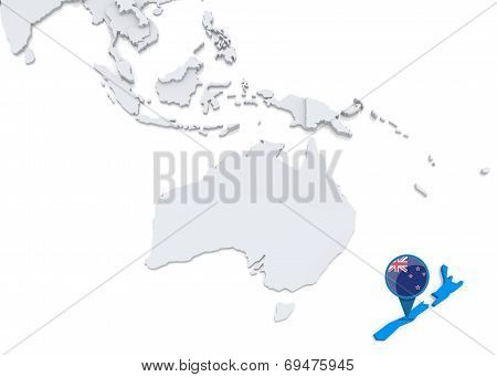 New Zealand On A Map Of Oceania