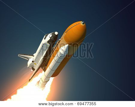 Space Shuttle Takes Off
