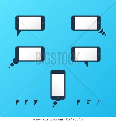 Gadget Vector smartphone empty speech bubbles set