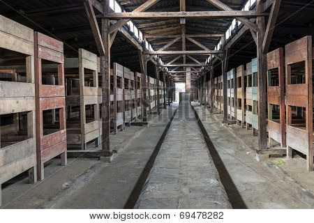 Inside Of Barrack In Concentration Camp Auschwitz, Oswiecim, Poland