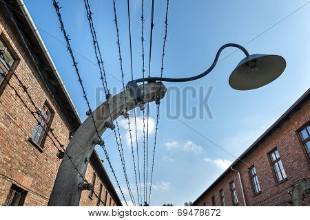 Lamp On A Barbed Wire Encloses The Auschwitz Ii-birkenau Camp In Brzezinka, Poland.